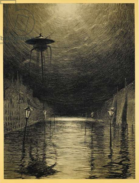 One of the Martian tripods standing over a flooded city. Illustration from 'war of the worlds'.
