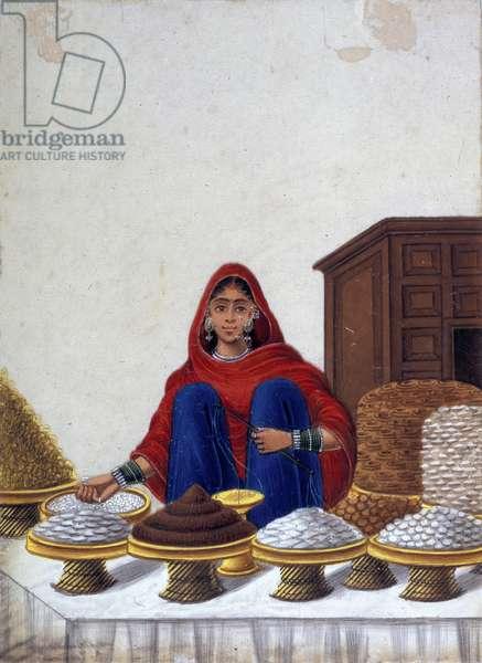 Woman sweetmeat-seller (colour litho)