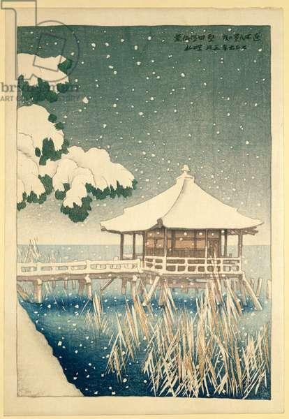 Snowfall over Ukimodo Shrine at Katata, from 'Eight Views of Omi', 1918 (aiban size colour woodblock print)