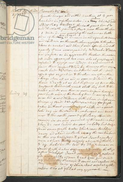 LOGBOOK of Lieut. James Cook in the