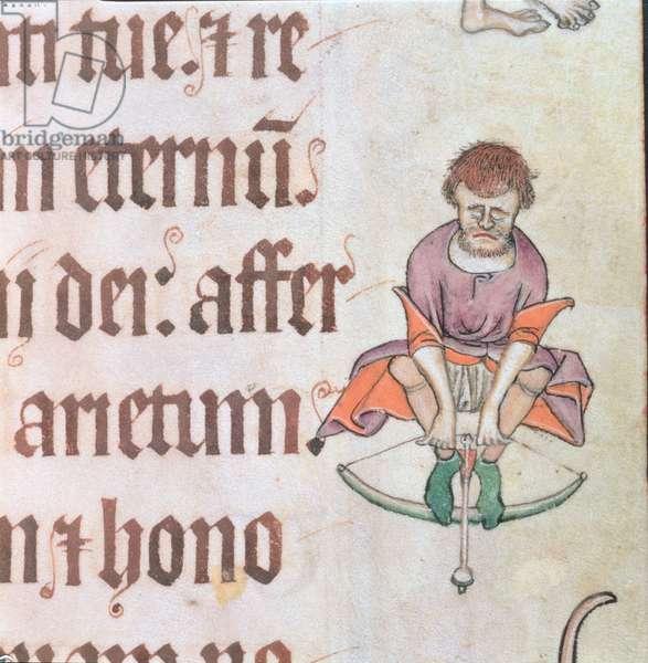 Add 42130 f.54 Border detail of an archer, from the 'Luttrell Psalter', c.1325-35 (vellum)