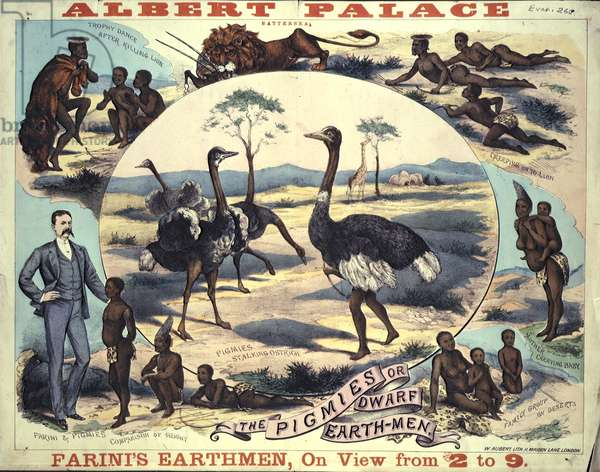 Poster advertising 'Farini's Earthmen' at Albert Palace, 1885 (coloured litho)