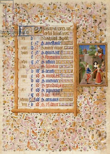 Add.25695 fol.5 Calendar page for May, from a Book of Hours (vellum)