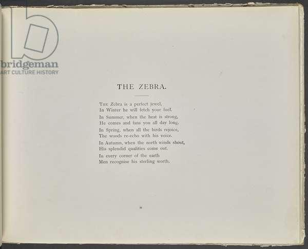 Poem: The zebra.