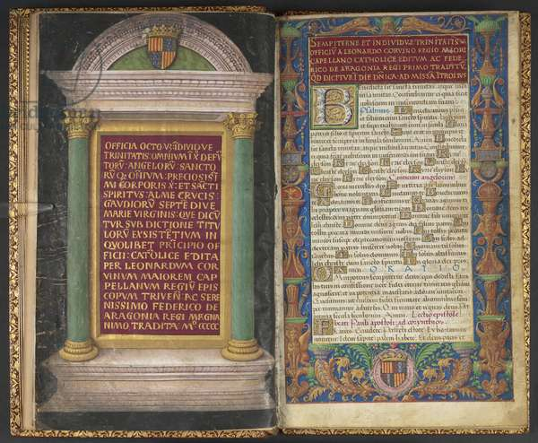 Add MS 21591 ff.2v and 3r 'Officia Octo, videlicet, Indivde Trinitatis...', 1500 (ink, colour and gold on vellum)