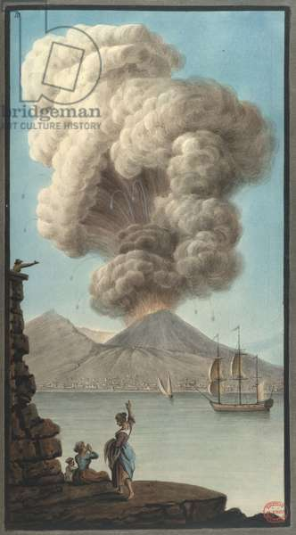 Mt. Vesuvius' morning eruption, from 'Campi Phlegraei. Observations on the Volcanos of the Two Sicilies...' by Sir William Hamilton, 1776 (colour litho)