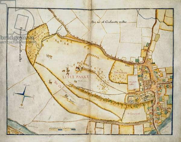 Harley 3749, fol.5v-5, Plan of Windsor, 1607 (w/c on paper)