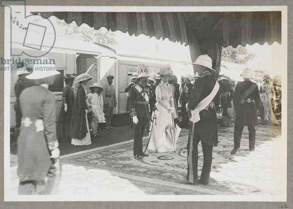 The King Emperor's Indian Durbar Tour, 1911-1912. The arrival of King George V and Queen Mary at Calcutta station