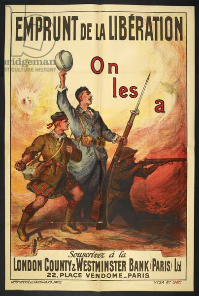 A propaganda poster depicting three Allied soldiers, A Scottish, French and English soldier'.