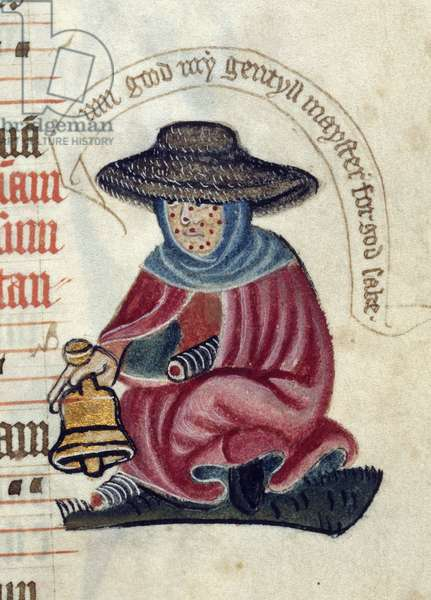 Lansdowne 451 f.127 A Leper with a Bell, from a 'Pontifical', c.1400 (vellum)