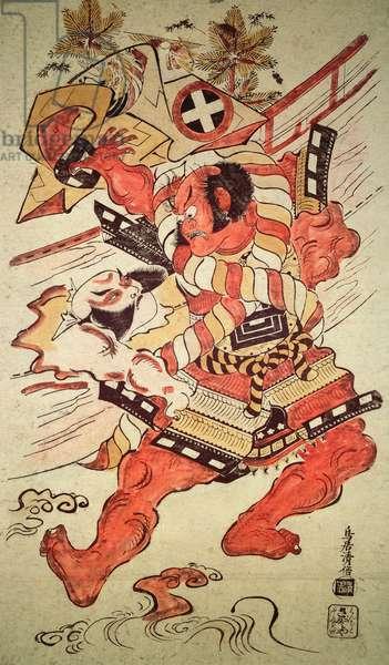 Actors in the roles of Soga no Goro and Asahina Saburo, 1710 (colour woodblock print)