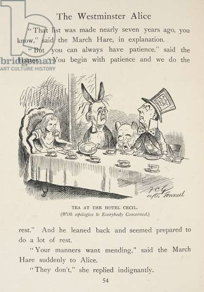 Alice has tea at the Hotel Cecil. The Mad Hatter's tea party. Joseph Chamberlain is represented as the Mad Hatter; Arthur Balfour is the March Hare, and Robert Cecil is the Dormouse.