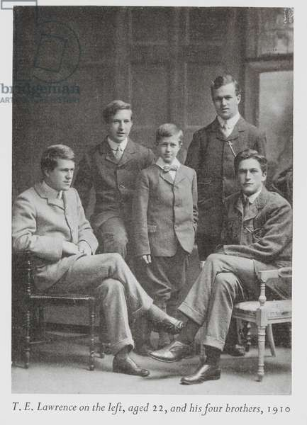 T.E. Lawrence on the left, aged 22 and his four brothers, 1910.