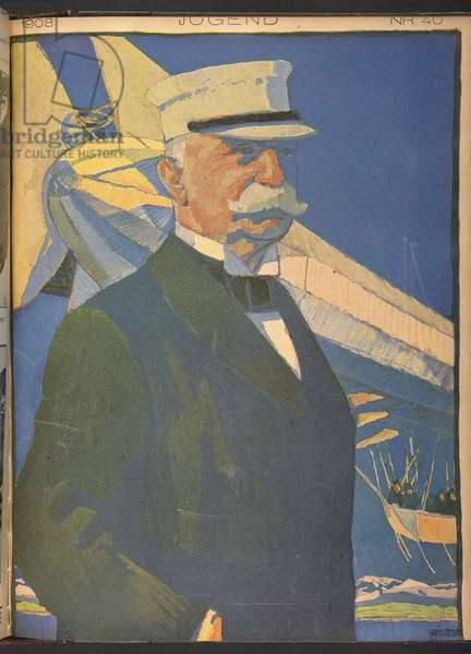Count Zeppelin, as portrayed on the front cover of 'Jugend' magazine, no.40 1908.