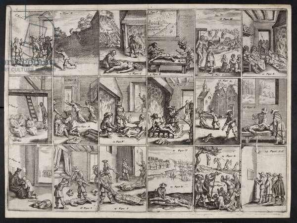 'Yrelandtsche Traenen: waer in levendich is affgebeelt ... een lijste, vande ... wreedtheden ... der ... Jesuwijten, met de Papistische factie aldaer…', by James Cranford, 1642 (engraving)