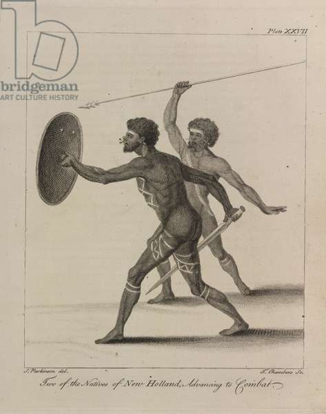 L.R. 294.c.7, plate XXVII Two of the natives of New Holland advancing to combat, 1770