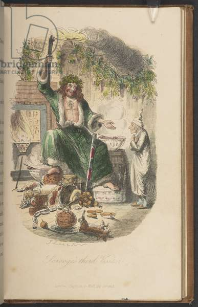 Scrooge's Third Visitor, from The First Edition of 'A Christmas Carol' by Charles Dickens, 1843 (litho)