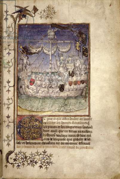 Eg 2709 fol.2 A ship crowded with armed men, from 'Le Canarien. A History of the Conquest of the Canary Islands', c.1420- 30 (vellum)