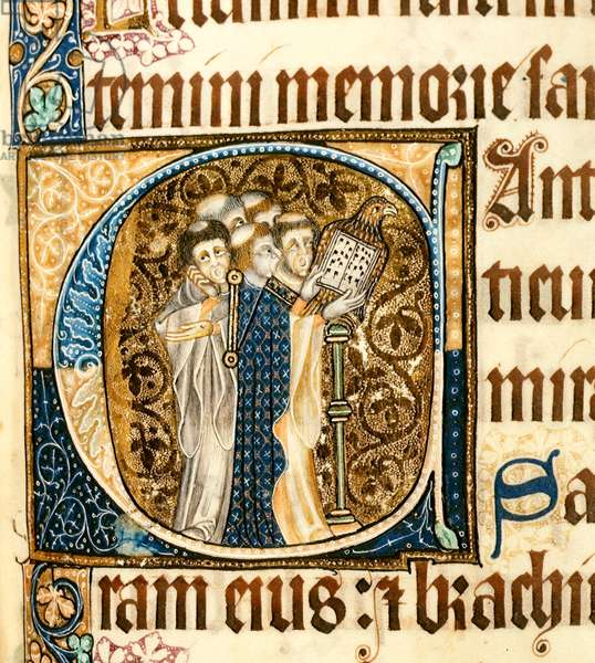 f.194 Inhabited Initial 'C' with Clerks singing, from the 'Luttrell Psalter' c.1325 (vellum)