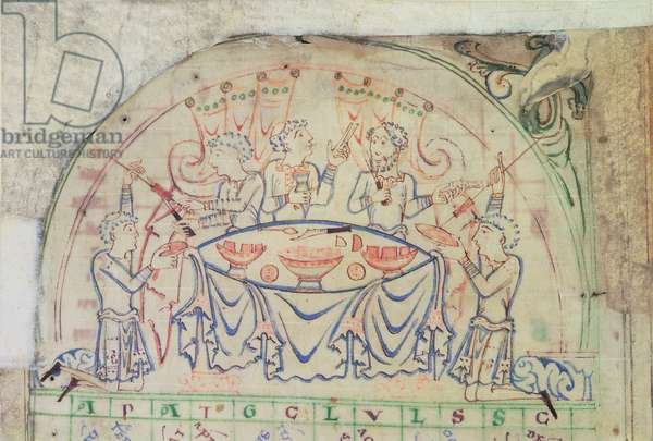 Cotton MS Tiberius C VI f.5v Feast scene from a calendar, 3rd quarter of the 11th century-2nd half of the 12th century (parchment)