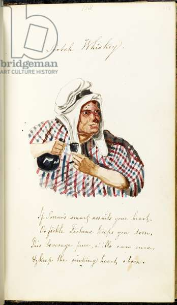 Watercolour sketch of a man drinking from a small glass. holding bottle. Scotch Whiskey