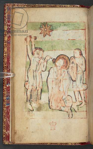 Harley 2928, f.13v, A kneeling saint is stoned, Scene from the Gospel of St. John (vellum)