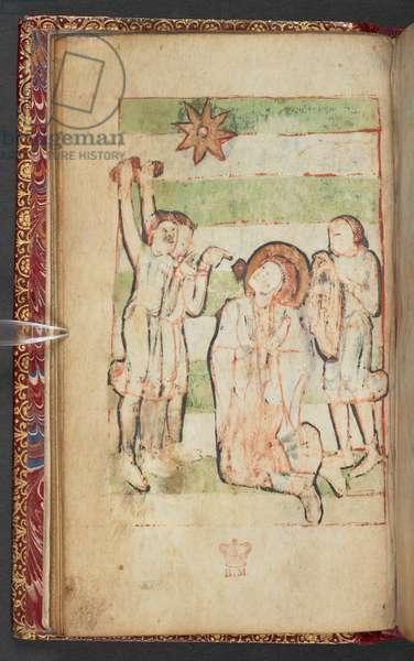 Harley 2928, f.13v, A kneeling saint is stoned, Scene from the Gospel of St. John (vellum)