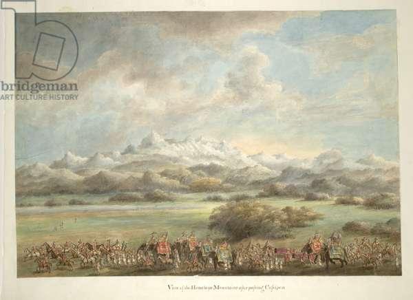 Lord and Lady Hastings, on elephants, passing in front of the Himalayas nar Kashipur, 1814-15 (w/c on paper)