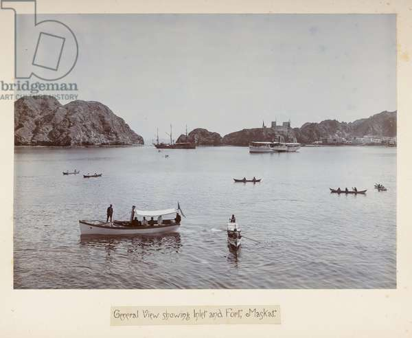 General View showing Inlet and Fort, Maskat, from 'Photographs of Lord Curzon's tour in the Persian Gulf, November, 1903' (silver gelatin print)