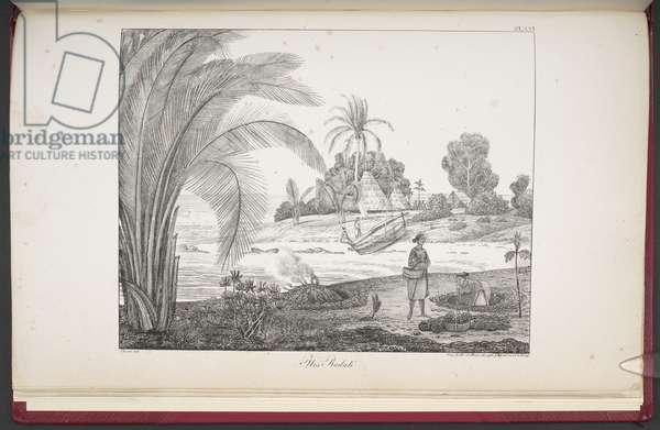 Radak Islands, from 'Vues et paysages des régions équinoxiales, recueillis dans un voyage autour du monde', by Louis Choris, 1826 (engraving)