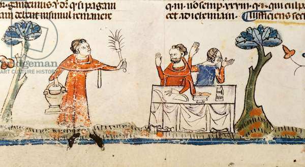 F.108v Man asperging a Couple at a Table, from the Smithfield Decretals, c.1340 (vellum)