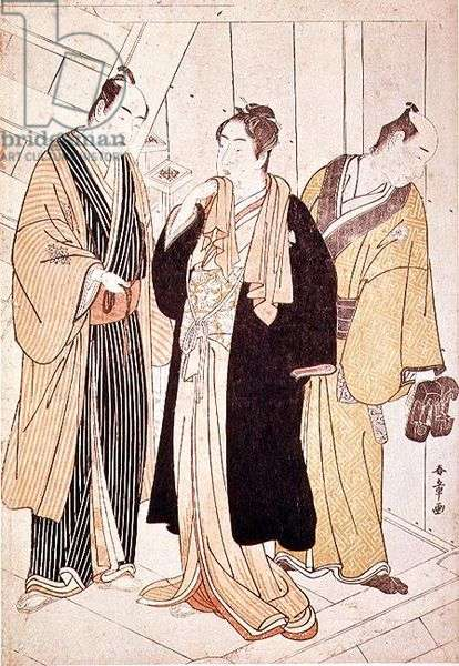 Two Actors Arriving Backstage, before 1785 (colour woodblock print)