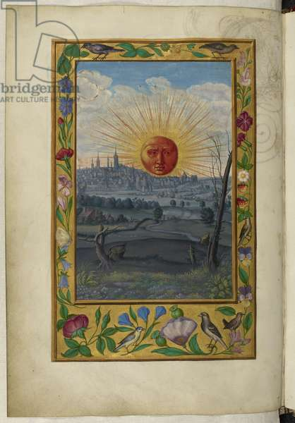 Ms Harley 3469, f.33v Sun with human face rising, the Fifth Treatise, from 'Splendor Solis' by Salomon Trismosin, 1582 (vellum)