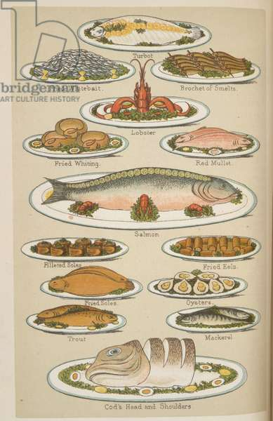 Fish Dishes, from 'Beeton's Book of Household Management', edited by Mrs Isabella Beeton, 1892 (colour litho)