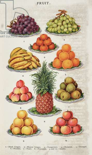 Fruit, from 'Beeton's Book of Household Management' vol.2, edited by Mrs Isabella Beeton, 1879-80 (colour litho)