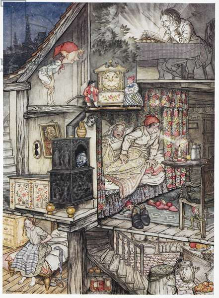 """""""When night was come and the shop shut up"""". A family at night in their home. A man reading in the attic reading. An elf looking through a keyhole. Two people, the parents in bed. A young girl sitting on her bed."""