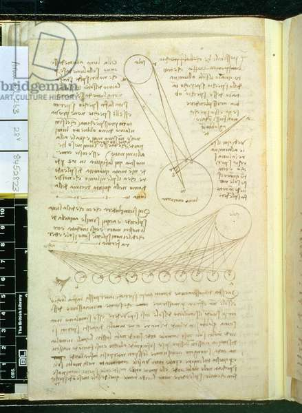 A page of notes on the Sun and Moon, fol. 28v from the Codex Arundel 263, 1508 (pen & ink on paper)