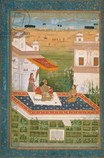 J.1.no.29 A prince attended by a female servant waving a morchal and a female musician playing a tambur, Mughal, c.1700 (gouache and decorated border)