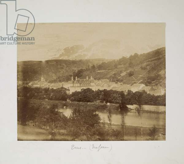 View of the German spa town of Ems (Nassau) c.1855-56 (b/w photo)