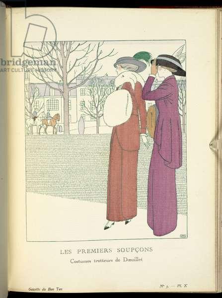 """""""Les Premiers soupcons"""", 1912 (print)"""