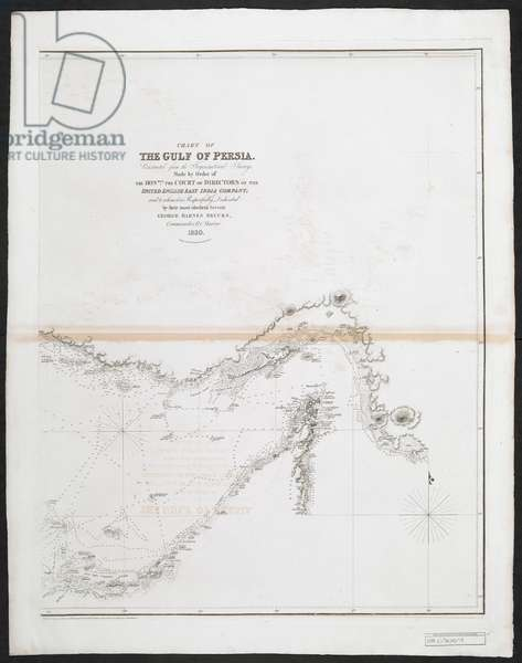 Chart of the Gulf of Persia, constructed from the trigonometrical Surveys made by order of the Directors of the ... East India Company ... by G.B. Brucks, 1830 (litho)