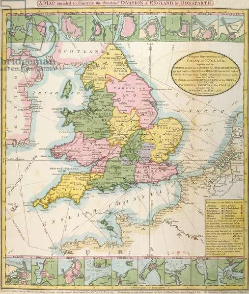 Map of Britain, illustrating the threatened invasion by Napoleon Bonaparte (1769-1821) 1803 (colour litho)