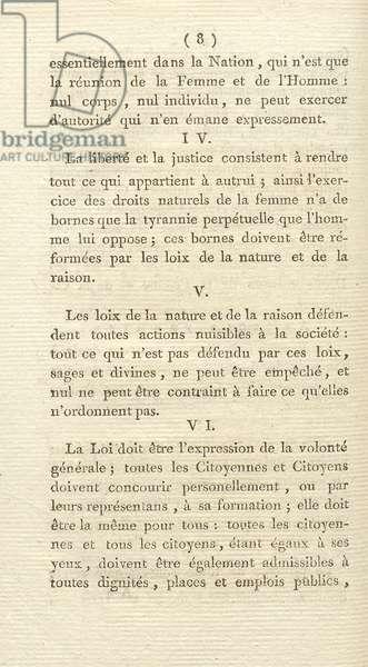 Déclaration des droits de la femme et de la citoyenne' (Declaration of the Rights of Woman and the Citizen)