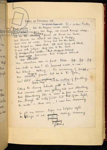 Add MS 43721 'Dulce et Decorum est.', Poems, 1911-18 (ink on paper)