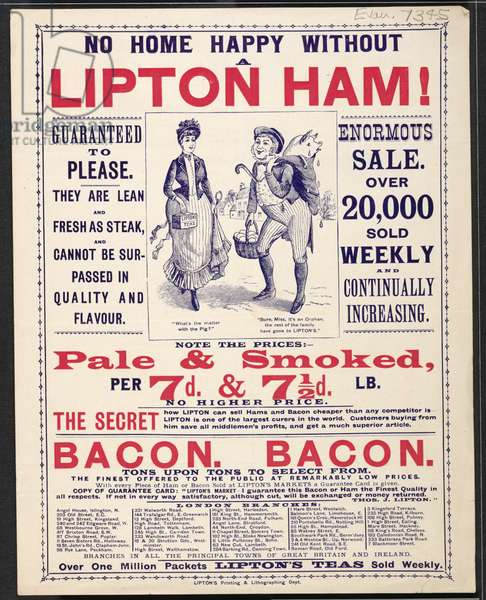 Advert For Lipton's Store, 1894 (colour litho)