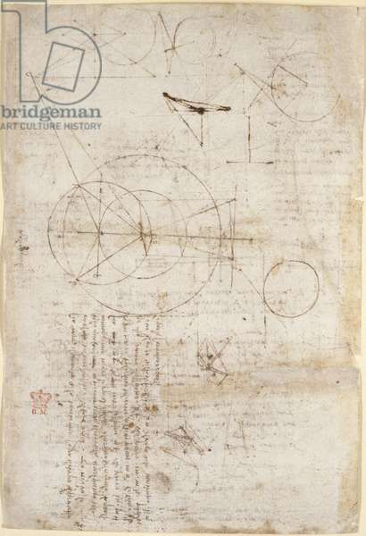 Arundel 263, f.95v Notes and diagrams on optics, concerning Alhazen's problem; two sketches representing lattice structures, from 'Codex Arundel', c.1506-08 (pen & ink on paper)