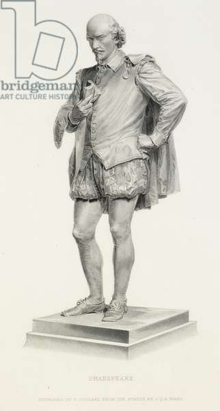 An engraving of a statue of William Shakespeare