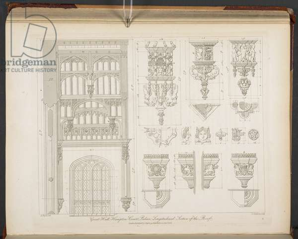 Longitudinal section of the Great Hall roof [Hampton Court] with details of badges, hammerbeam termination and corbels, from 'Specimens of Gothic Architecture', 1821-23 (engraving)