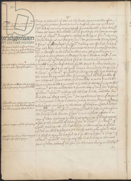 """East India Company Charter, Page 20, Copy Letters Patent of Elizabeth I granting to the Earl of Cumberland and 215 others the power to form a corporate body to be called the """"Governor and Company of Merchants of London, trading into the East-Indies"""" and naming Thomas Smith the first Governor, 31 December 1600 (pen & ink on paper)"""