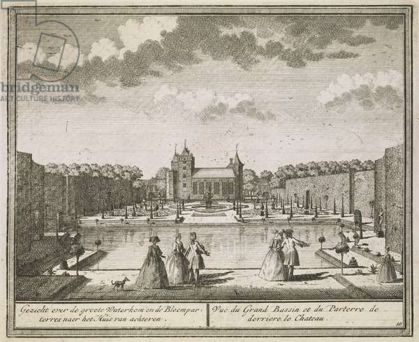 View of the gardens at Assumburg near Heemskerk, with group of elegant figures strolling by the pond in the foreground and fountain, parterres and rear façade of the castle in the background; inscribed with plate number and title below. 